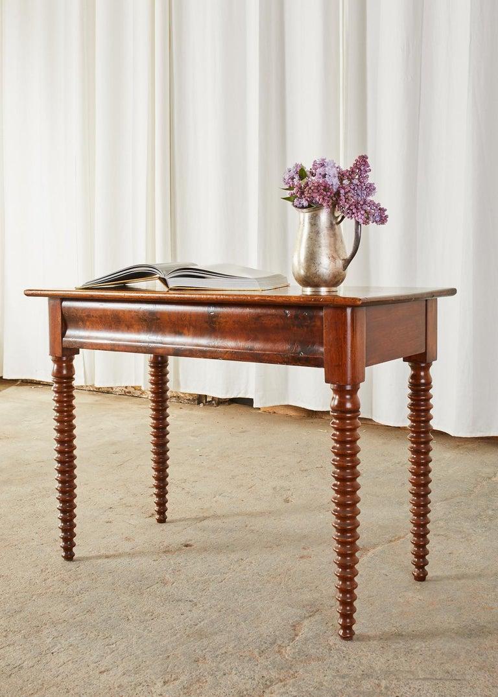 19th Century English Mahogany Bobbin Leg Console Table For Sale 3