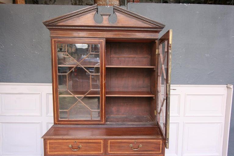 19th Century English Mahogany Bookcase Cabinet For Sale 4