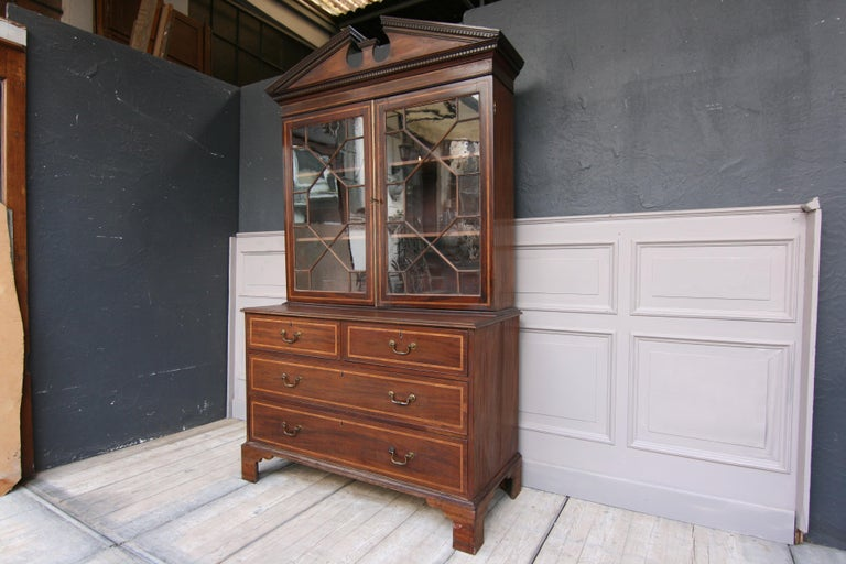 Chippendale 19th Century English Mahogany Bookcase Cabinet For Sale