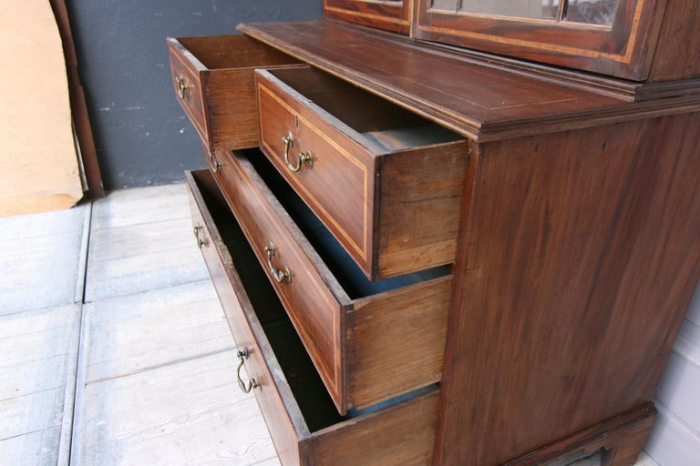 Brass 19th Century English Mahogany Bookcase Cabinet For Sale