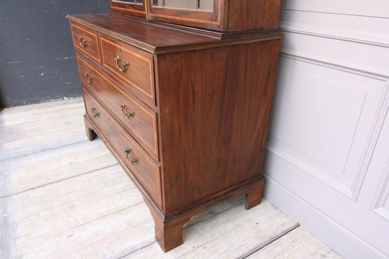 19th Century English Mahogany Bookcase Cabinet For Sale 1