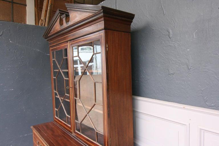 19th Century English Mahogany Bookcase Cabinet For Sale 2