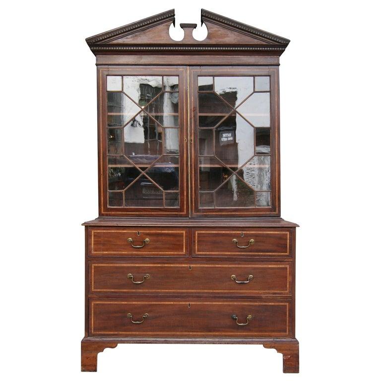 19th Century English Mahogany Bookcase Cabinet For Sale