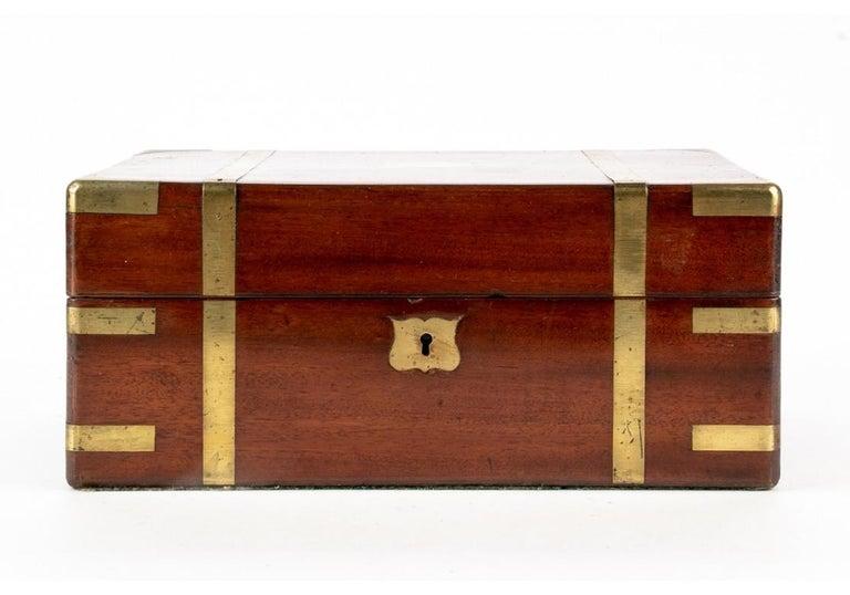 19th Century English Mahogany Campaign Travel Lap Desk 8