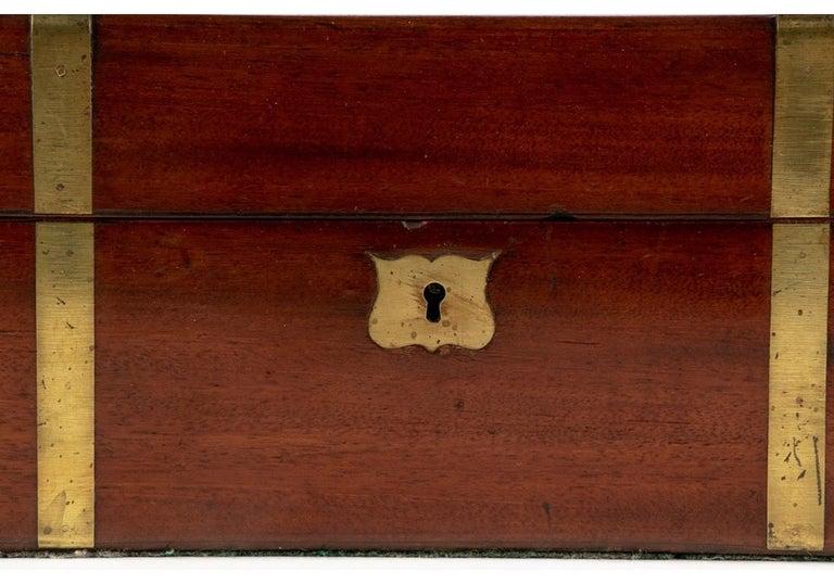 Brass 19th Century English Mahogany Campaign Travel Lap Desk