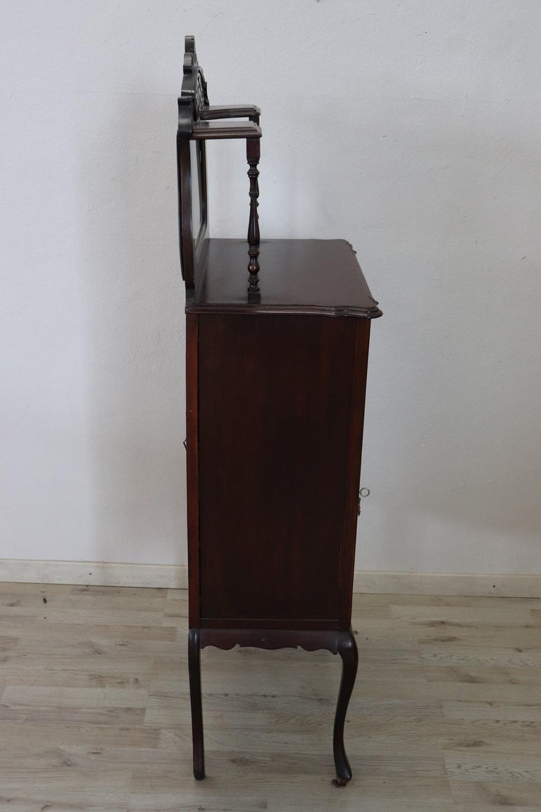Wood 19th Century English Mahogany Carved Antique Vitrine or Display Cabinet For Sale