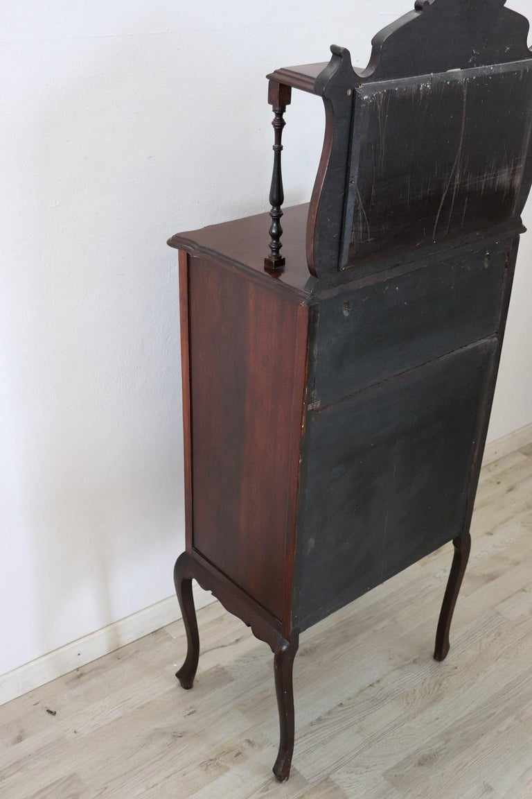 19th Century English Mahogany Carved Antique Vitrine or Display Cabinet For Sale 2