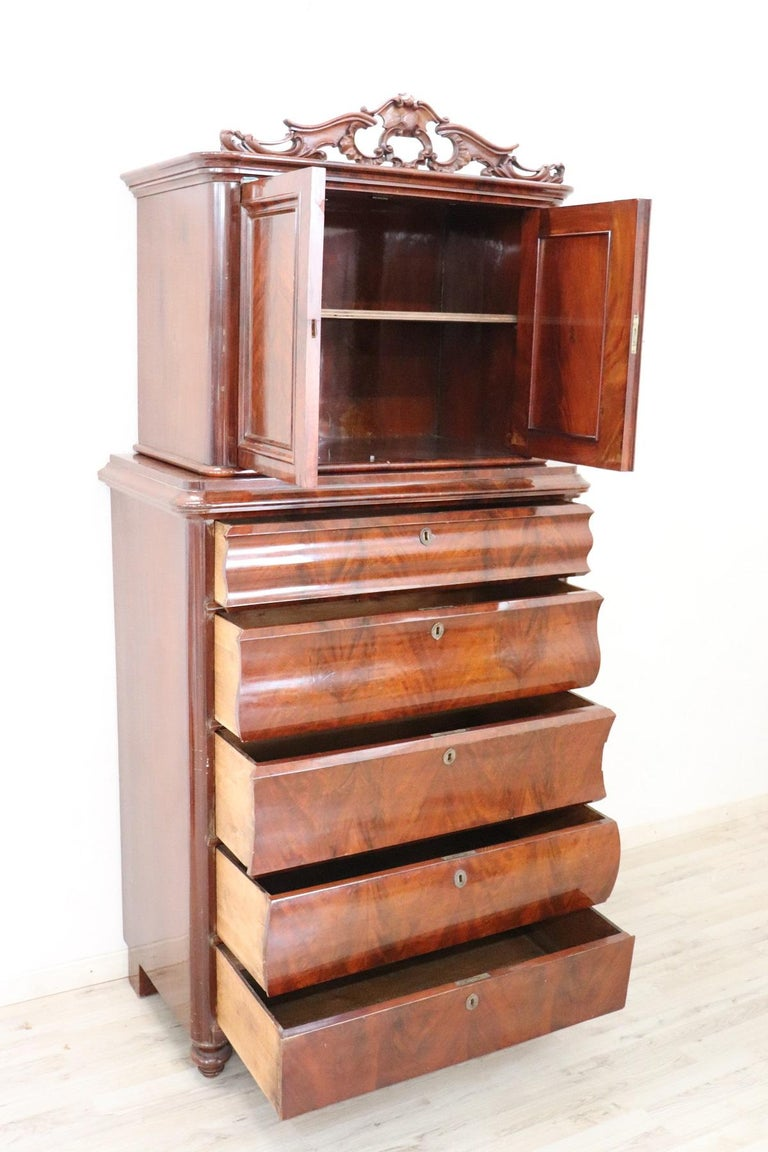 19th Century English Mahogany Commode or Tall Chest of Drawers, 1850s For Sale 5
