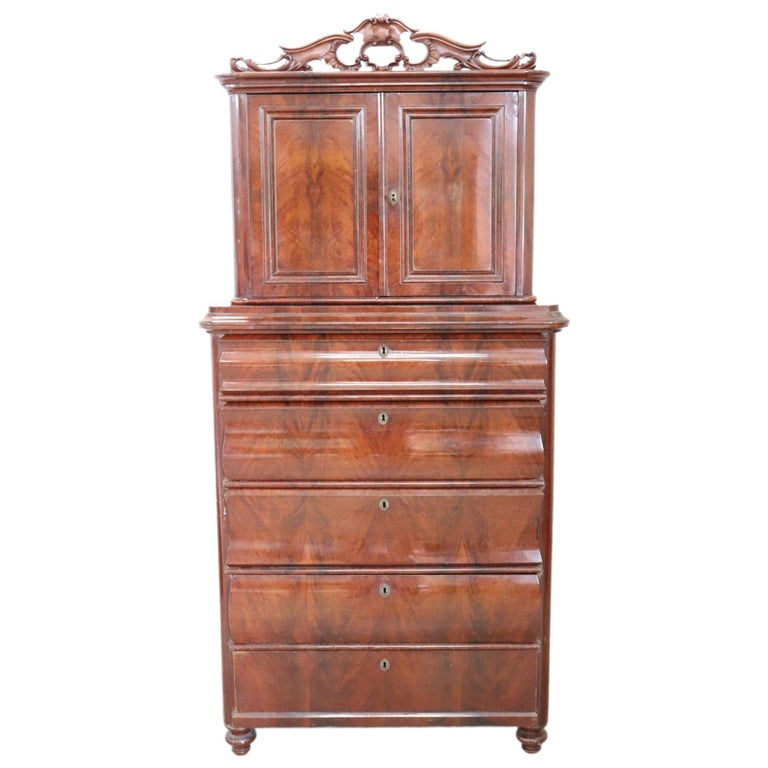 19th Century English Mahogany Commode or Tall Chest of Drawers, 1850s For Sale