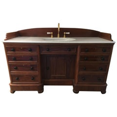 19th Century English Mahogany Cupboard Sink with Carrara Marble Top, 1890s