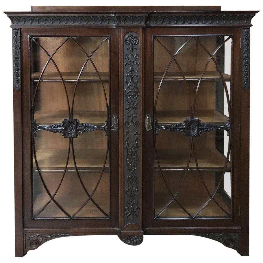 19th Century English Mahogany Curio Cabinet or Bookcase