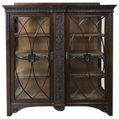 19th Century English Mahogany Curio Cabinet or Bookcase