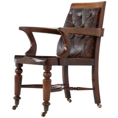 19th Century English Mahogany Desk Chair with Leather Back