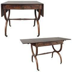 19th Century English Mahogany Drop Leaf Desk, Table