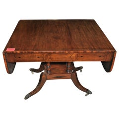 19th Century English Mahogany Drop Leaf Sofa Table