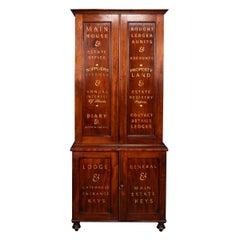19th Century English Mahogany Estate Office Cabinet, c.1890