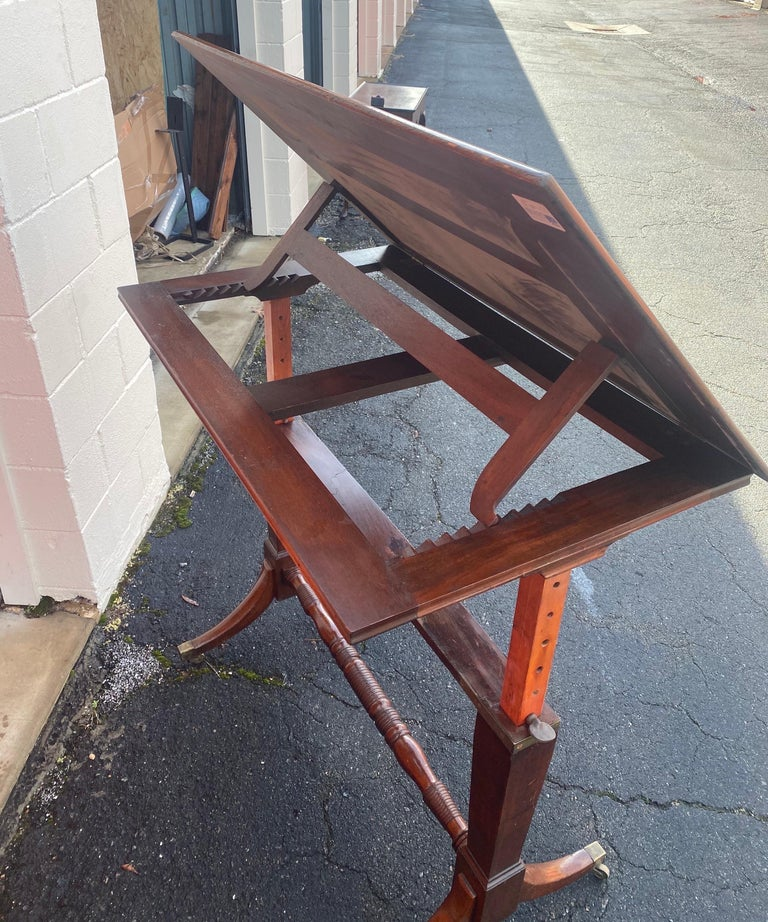 19th Century English Mahogany Extending Folio or Architect's Table For Sale 3
