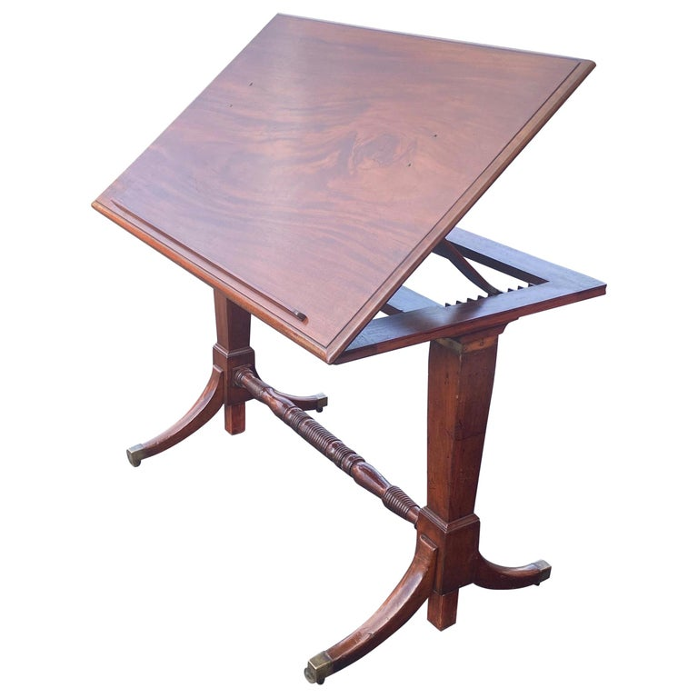 19th Century English Mahogany Extending Folio or Architect's Table For Sale