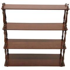 19th Century English Mahogany Four-Tier Hanging Shelf