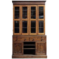19th Century English Mahogany Glazed Secretaire Bookcase