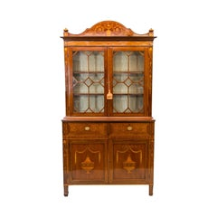 19th Century English Mahogany Inlaid Bookcase