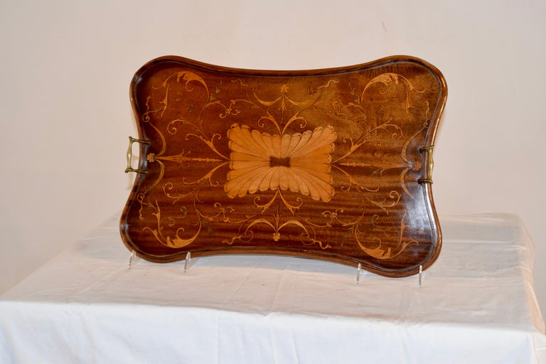Georgian 19th Century English Mahogany Inlaid Serving Tray