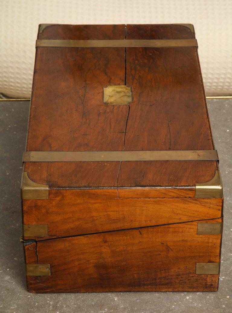 19th Century English Mahogany Military Campaign Writing Box For Sale 7