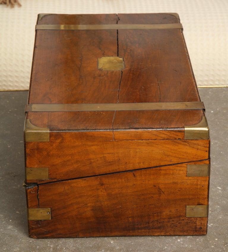 19th Century English Mahogany Military Campaign Writing Box For Sale 8