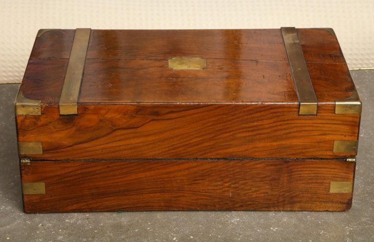 19th Century English Mahogany Military Campaign Writing Box For Sale 9