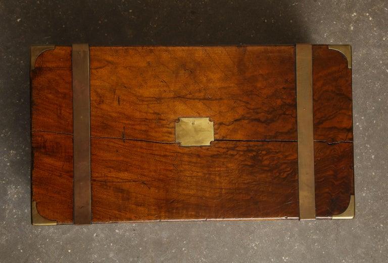 19th Century English Mahogany Military Campaign Writing Box For Sale 13