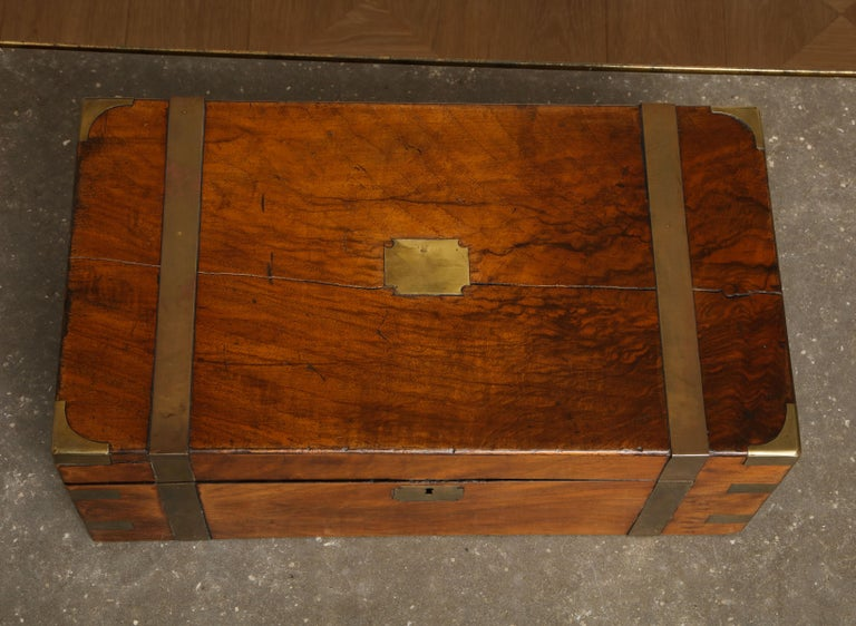 19th Century English Mahogany Military Campaign Writing Box For Sale 14