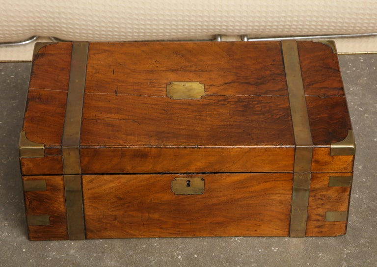 High Victorian 19th Century English Mahogany Military Campaign Writing Box For Sale
