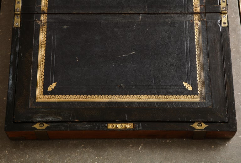 Brass 19th Century English Mahogany Military Campaign Writing Box For Sale