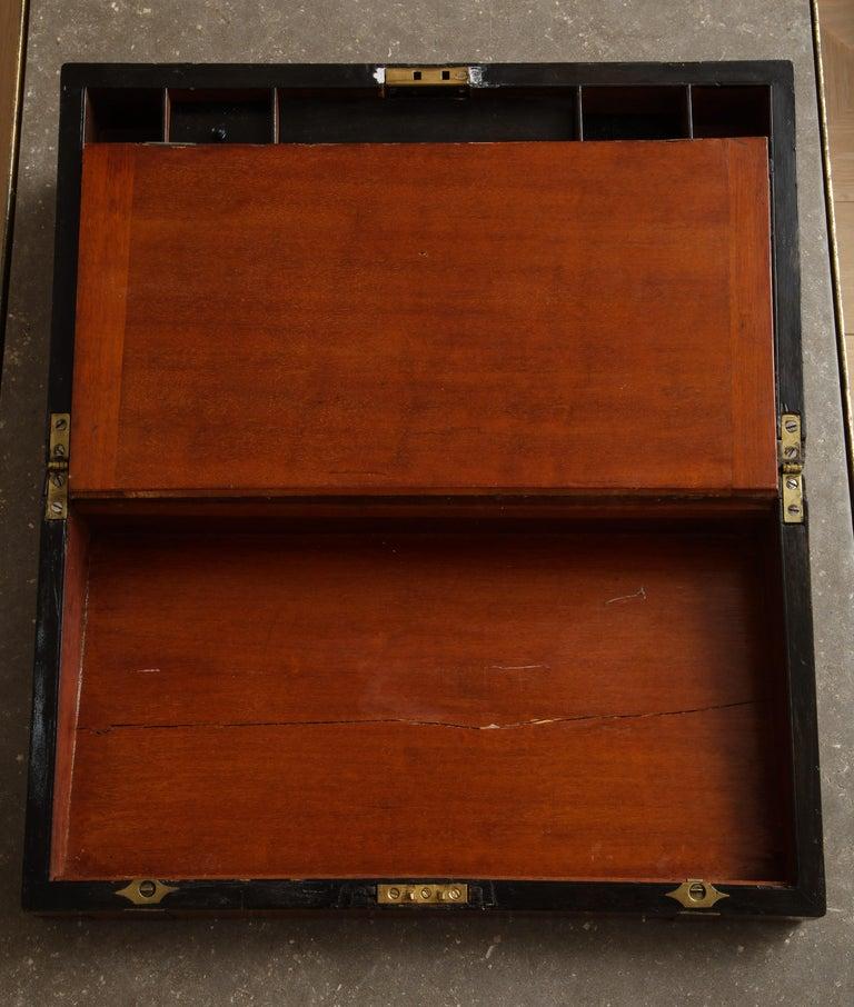 19th Century English Mahogany Military Campaign Writing Box For Sale 1