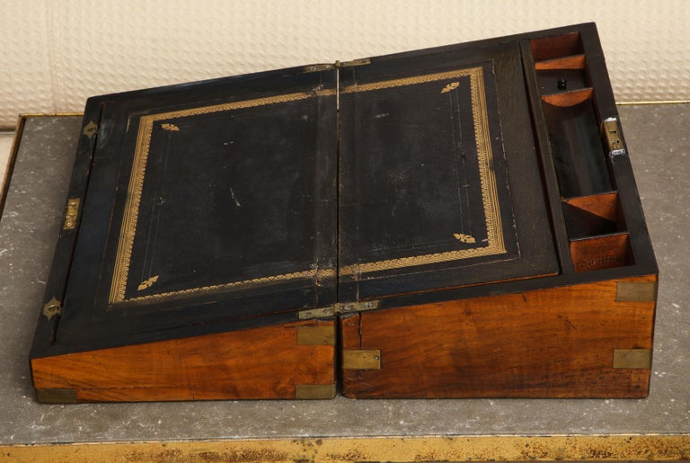 19th Century English Mahogany Military Campaign Writing Box For Sale 3