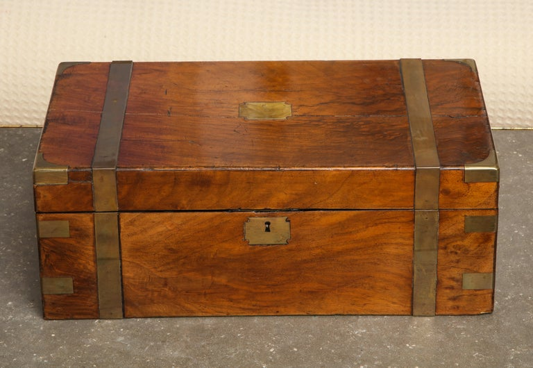 19th Century English Mahogany Military Campaign Writing Box For Sale 4