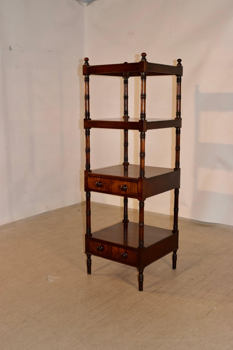 Turned 19th Century English Mahogany Shelf For Sale