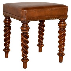 19th Century English Mahogany Stool with Leather Top