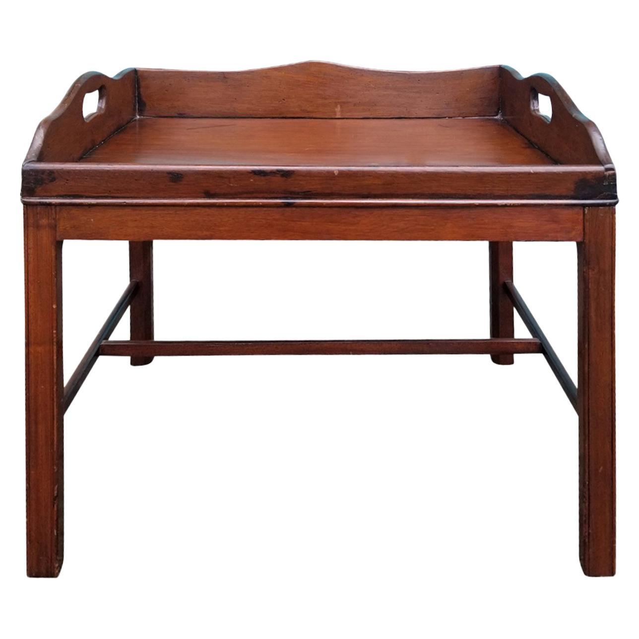 19th Century English Mahogany Tray Side Table