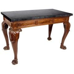 19th Century English Mahogany William 4th Period Marble Top Console