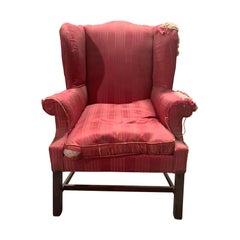 19th Century English Mahogany Wingback Chair