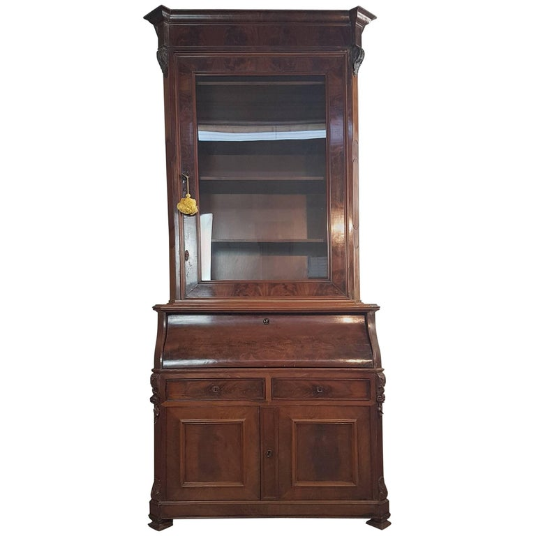19th Century English Mahogany Wood Bookcase With