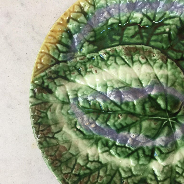 19th century English majolica begonia plate. 3 plates are available.