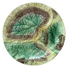 19th Century English Majolica Begonia Plate