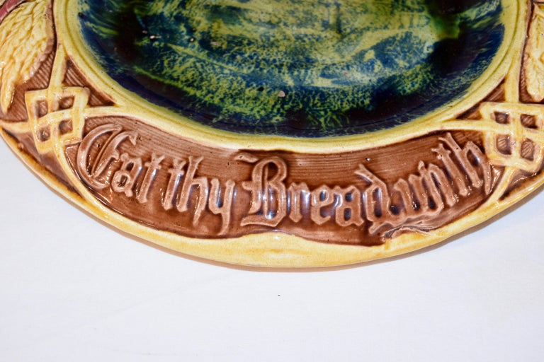 19th Century English Majolica Bread Tray In Good Condition For Sale In High Point, NC