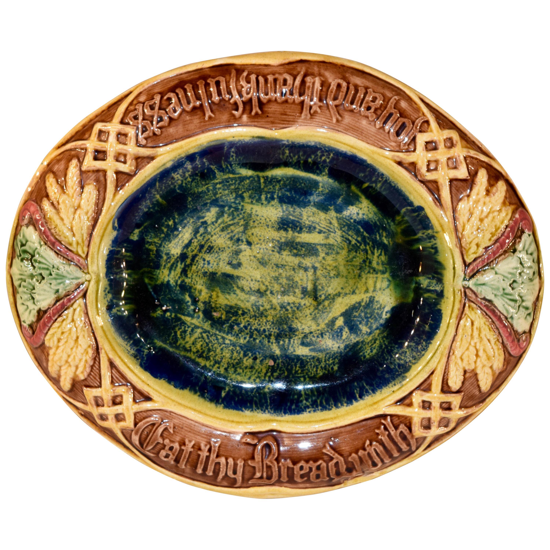 19th Century English Majolica Bread Tray