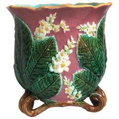 19th Century English Majolica Chesnut Blossom Jardinière George Jones