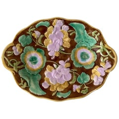 19th Century English Majolica Geranium Oval Platter