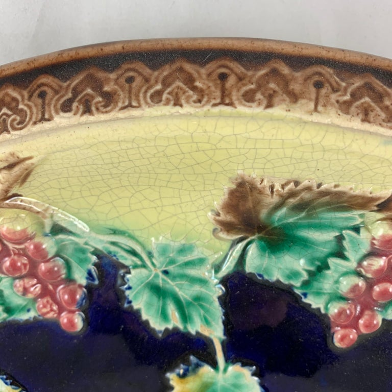 Earthenware 19th Century English Majolica Gothic Grapevine Theme Cheese Board or Bread Tray For Sale