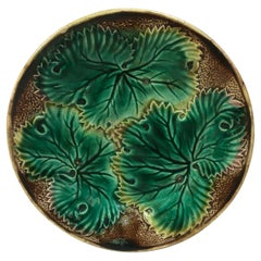 19th Century English Majolica Leaves and Plate